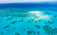 Coral sand cay on Great Barrier Reef, Queensland